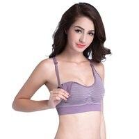 Women's Bra Sexy stripe front opening button pregnant Non steel ring underwear bra Women1
