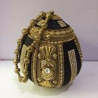 DOYUTIG Indian Women's Black & Antique Gold Metal Handbags Short Handle Strap Wedding Clutches Lady Fashion Evening Bag F728