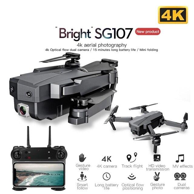 SG107 미니 드론 4K 와이파이 FPV HD 듀얼 카메라 Quadcopter 옵티컬 플로우 드론 제스처 컨트롤 어린이를위한 최고의 선물