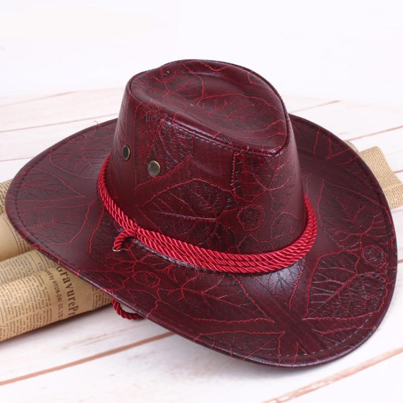 HT3006 Western Men Women Cowboy Hat Vintage PU Leathe Wide Brim Hat Caps for Gentleman Casual Travel Fedoras Men Women Sun Hat