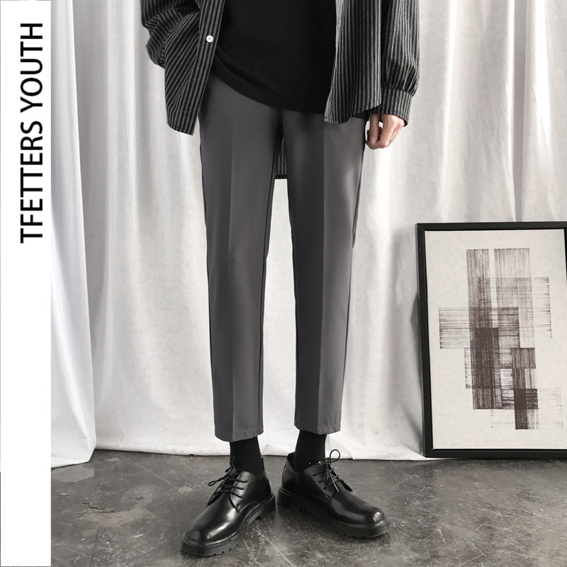 TFETTERS Summer New Arrival Men Trousers Korean Style Mid Straight Casual Suit Pant Male Solid Color Slim Fit Ankle-length Pants