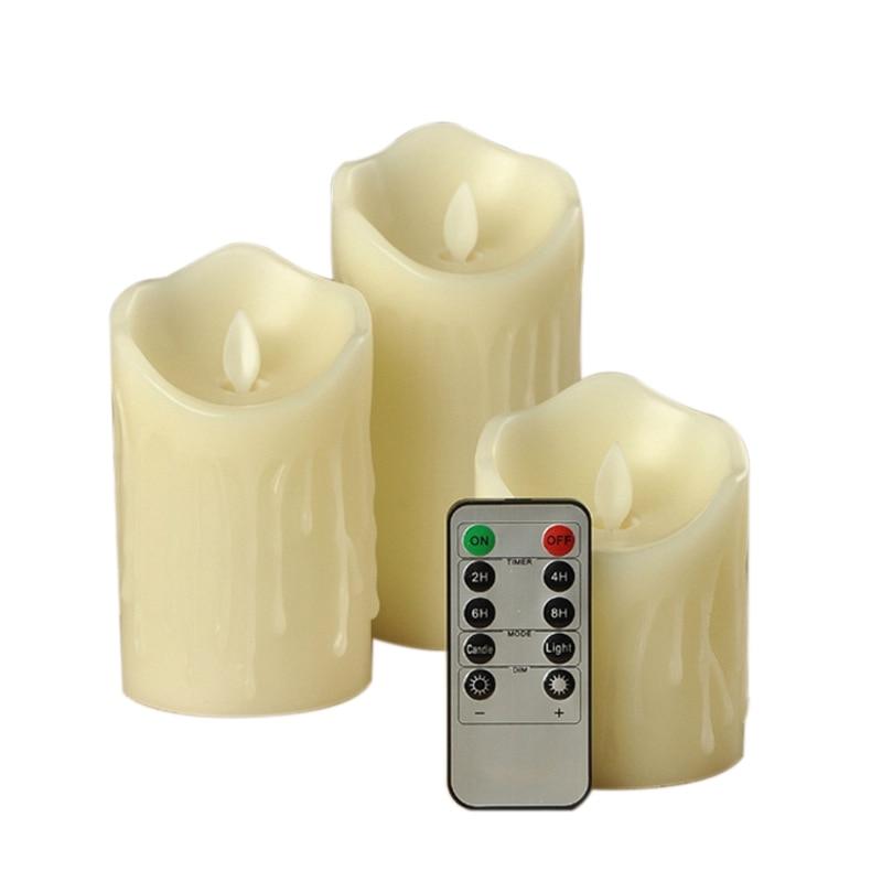 En iyi 3 adet hareketli fitil alevsiz titrek mumlar zamanlayıcı ile uzaktan kumanda LED mumlar title=