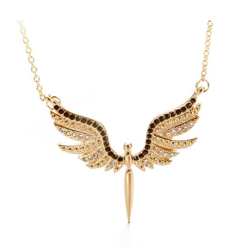 W stylu Vintage złoty kolor naszyjnik łańcuch cyrkon kryształowe skrzydła anioła naszyjniki dla kobiet kołnierz Colar prezent dziewczyna biżuteria Drop Shipping