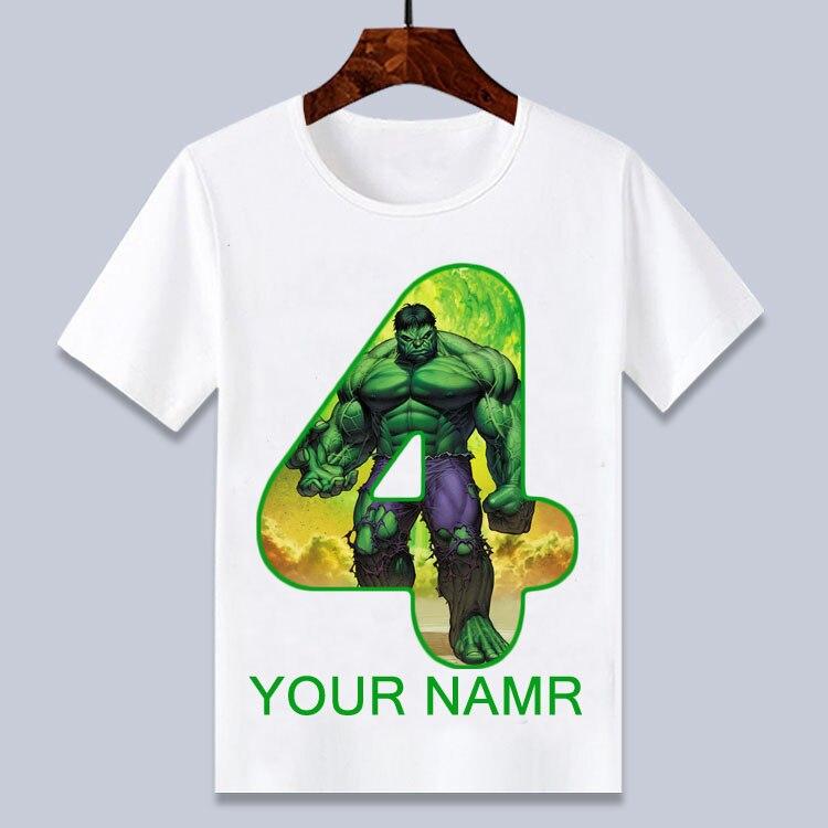 4-12t super herói hulk desenhos animados wihte, feliz aniversário, camiseta para meninos e meninas verão, top aniversário presente