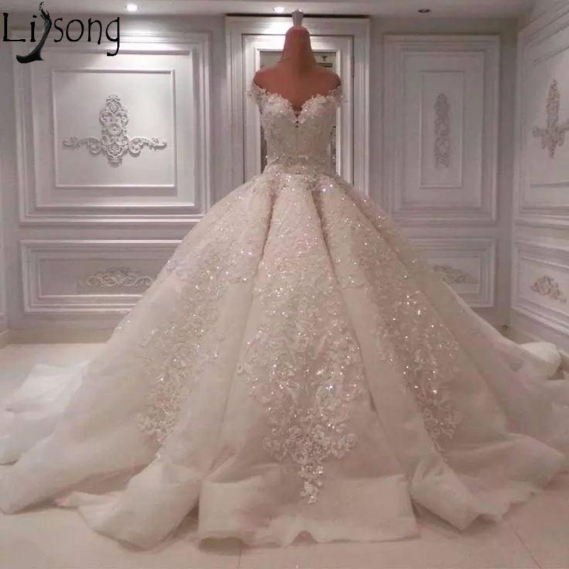 Luxury Dubai Arabic Off Shoulder Wedding Dress Ball Gown Court
