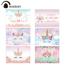 Allenjoy photography backdrop banner unicorn 1st birthday rainbow stars clouds background photobooth Baby Shower Party Photozone