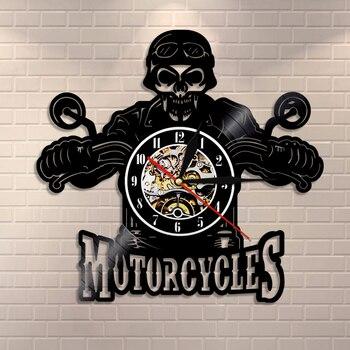 Skull in Helmet Racer Motorcycles Wall Clock Racer Skull Biker Vinyl Record Wall Clock Halloween Home Decor Skull Rider Clock фото