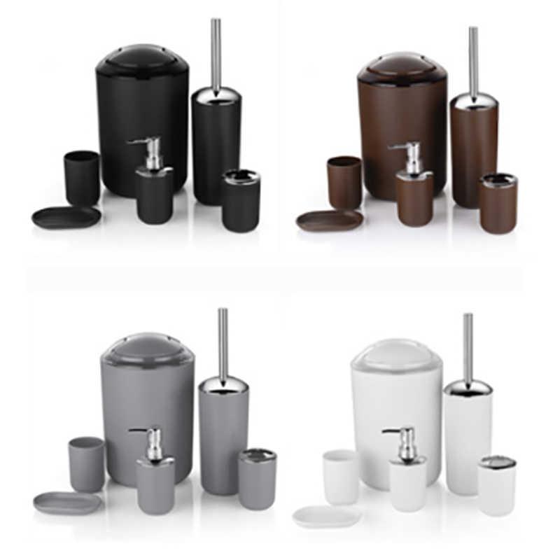 6 sztuk plastikowe akcesoria łazienkowe zestaw zestaw dla łazienka szczoteczka do zębów uchwyt mydelniczka mydło w płynie dozownik kubek kosz na śmieci szczotka do wc