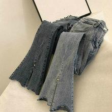 2019 Высокая талия женские расклешенные джинсы для женщин в