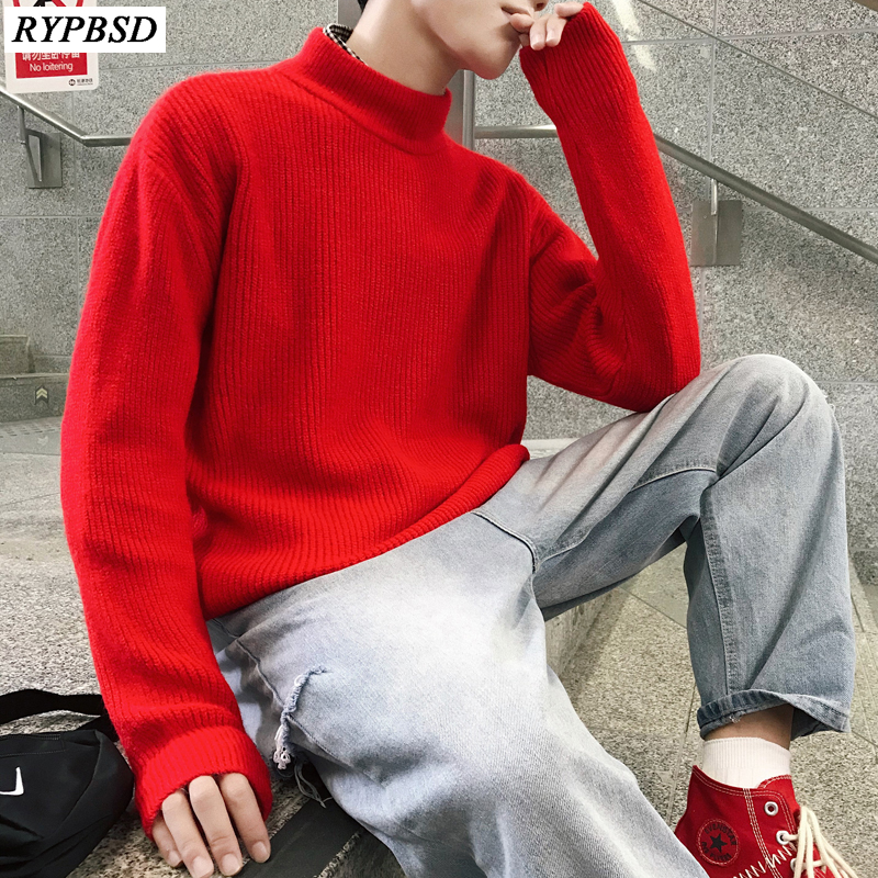 Men Turtleneck Sweater Solid Color Casual Long Sleeve Warm Cotton Pullover Sweater Knitted Men Sweater Cashmere 13 Colors