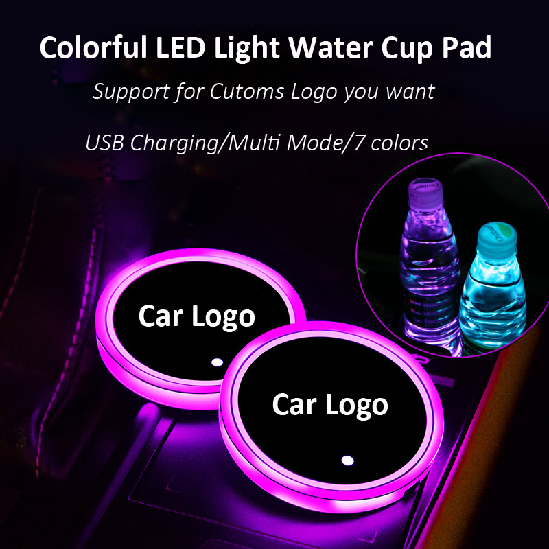 2pcs <font><b>LED</b></font> <font><b>Car</b></font> <font><b>Logo</b></font> water Cup Pad Lights For BMW Toyota Lexus Chevrolet7 Colors Atmosphere Light <font><b>LED</b></font> Mats Bottle Lamps <font><b>USB</b></font> Charger image