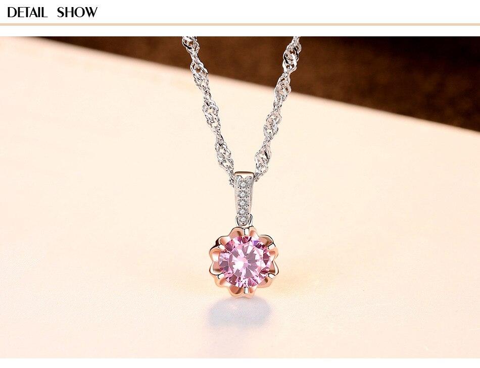 S925 collier en argent sterling couleur zircon fleur boutique LS310