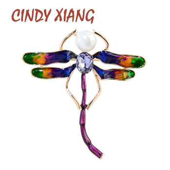 CINDY XIANG Enamel Dragonfly Brooches For Women Coloful Insect Pin Brooch Fashion Jewelry Pearl Accessories High Quality New real natural pearl brooch for women pearl brooch fashion jewelry classic charm high quality accessories pin