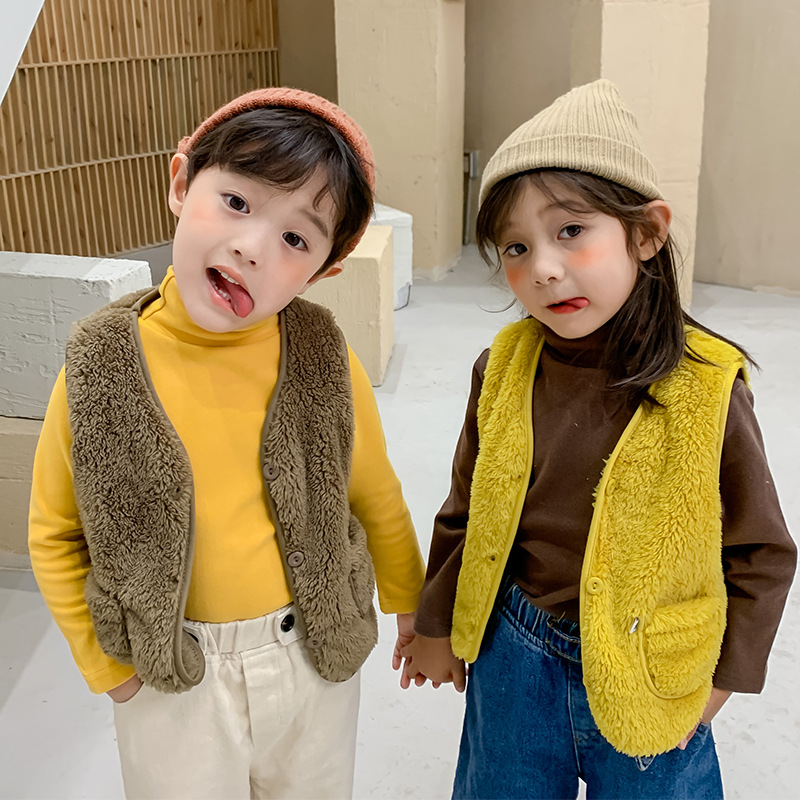 New Autumn Winter Children Vest Fur Baby Waistcoat Kids Light Vest for Girl Boy Toddler Children Clothes Fur Jacket Sleeveless 2