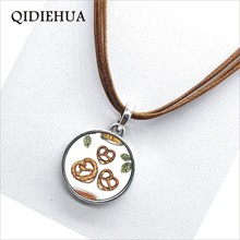 Traditional Bavarian Pretzel Enamel Pendant Necklace for Women