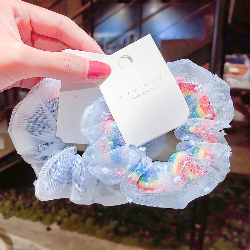 Mavi tarzı at kuyruğu tutucu elastik saç bantları kadınlar kızlar için Scrunchies moda toka kabarık lastik bant halat saç aksesuarları