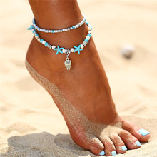 Stylish Bohemian starfish shell anklet, vintage bracelet for womens summer beach leg chain anklet jewelry dro