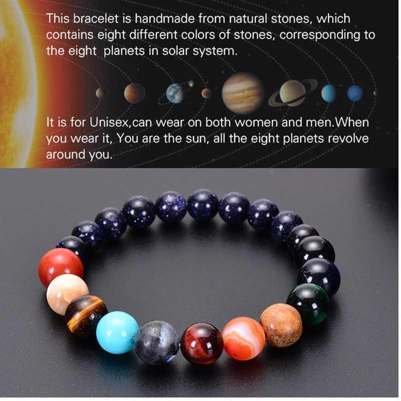 Мужской браслет для мужчин женщин со вставками из натурального камня чакра Йога браслет Вселенная планеты Солнечной системы Браслеты Шарм ювелирные изделия