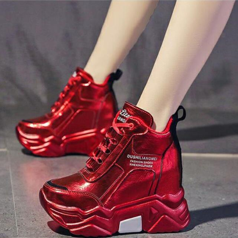 High Quality Chunky Platform Outdoor Sneakers Women Winter Warm Super High Heels Casual Shoes Woman Height Increasing Boot Mujer
