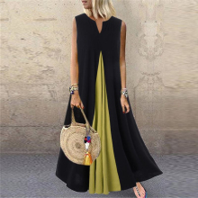 Summer Long Dress Women Fashion Color Patchwork Loose Sundress Sexy Sleeveless P