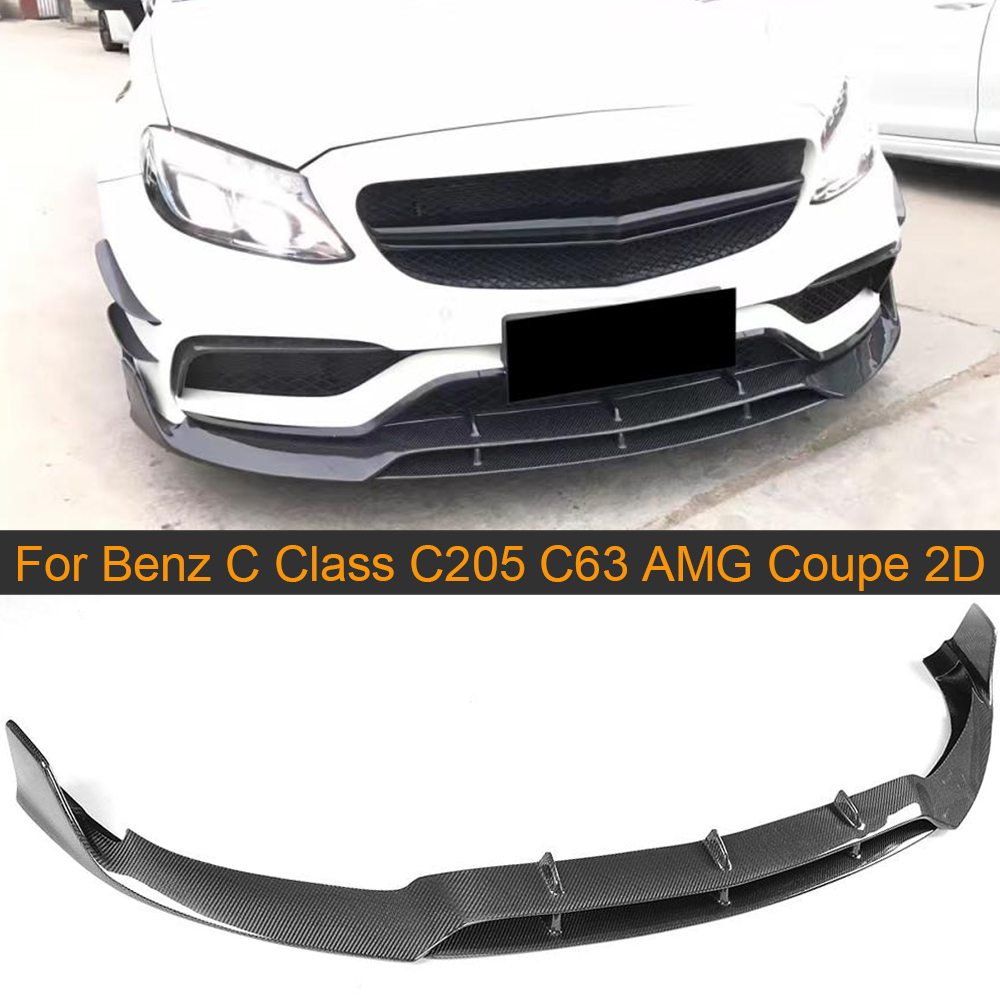 C Class Carbon Fiber Front <font><b>Bumper</b></font> Lip Spoiler Kit for Mercedes <font><b>Benz</b></font> <font><b>W205</b></font> C205 C63 AMG Coupe 2 Door 15-17 Convertible Front Lip image