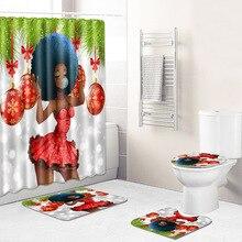 African Girl Shower Curtain/Bath Mat/Toilet Pad Set Anti-slip Toilet Carpet Flannel Bath Mat 4 Pcs Christmas decoration pebbles pattern 3 pcs bath mat toilet mat
