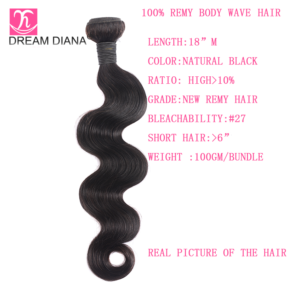 """Image 3 - DreamDiana Body Wave 1/3/4 Bundles 10"""" 30"""" L Brazilian Hair Bundles Natural Black Color Remy Weaving 100% Human Hair Extensions-in Hair Weaves from Hair Extensions & Wigs"""