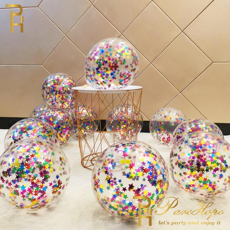 10/20 Star Confetti Balloons Metallic Confetti Latex Transparent Ballon Baby Shower Birthday Party Wedding Decoration Ball Globo