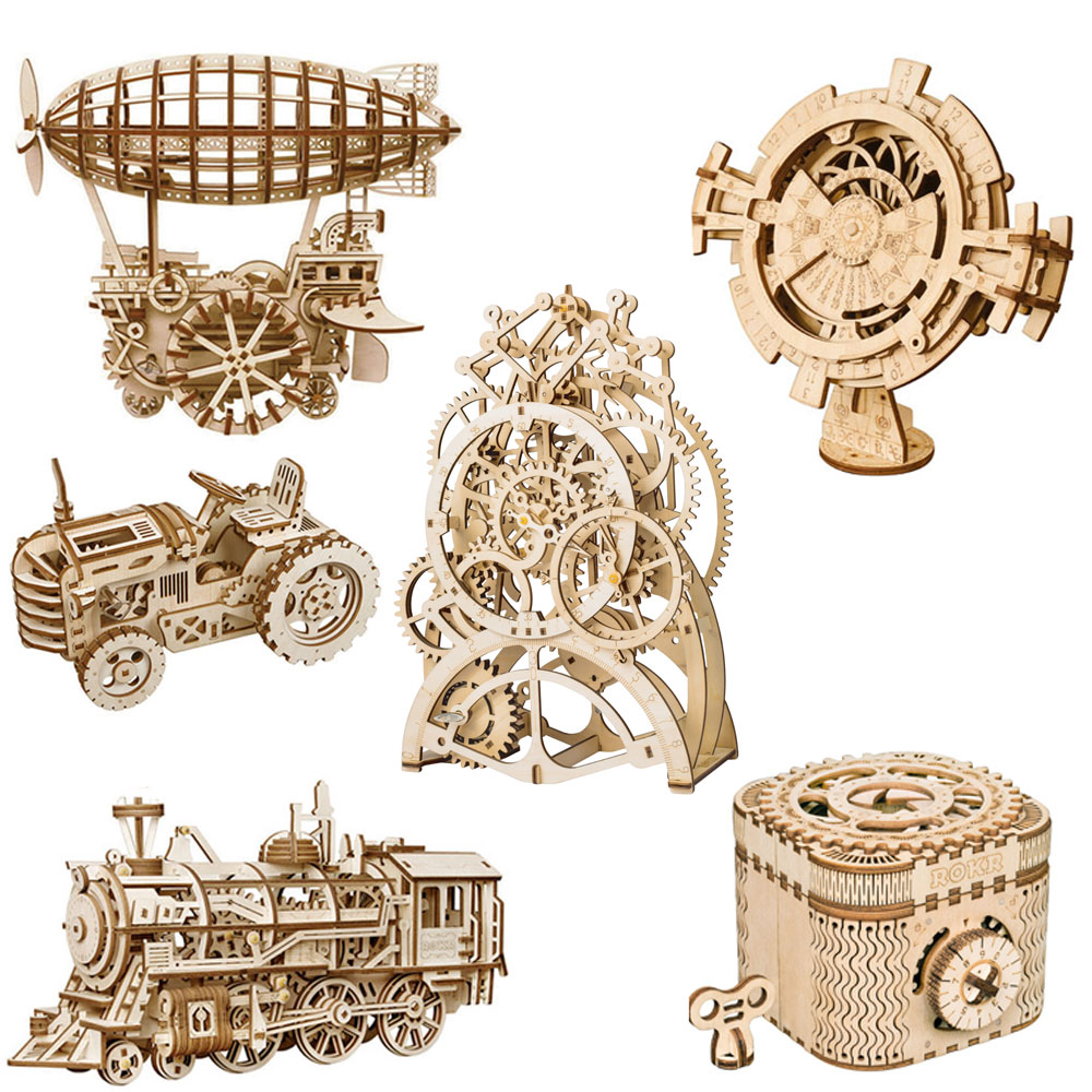 ROKRING DIY 3D Wooden Puzzle Mechanical Gear Drive Model Building Kit Toys Gift Kit Children's Educational Toys Kids Gift