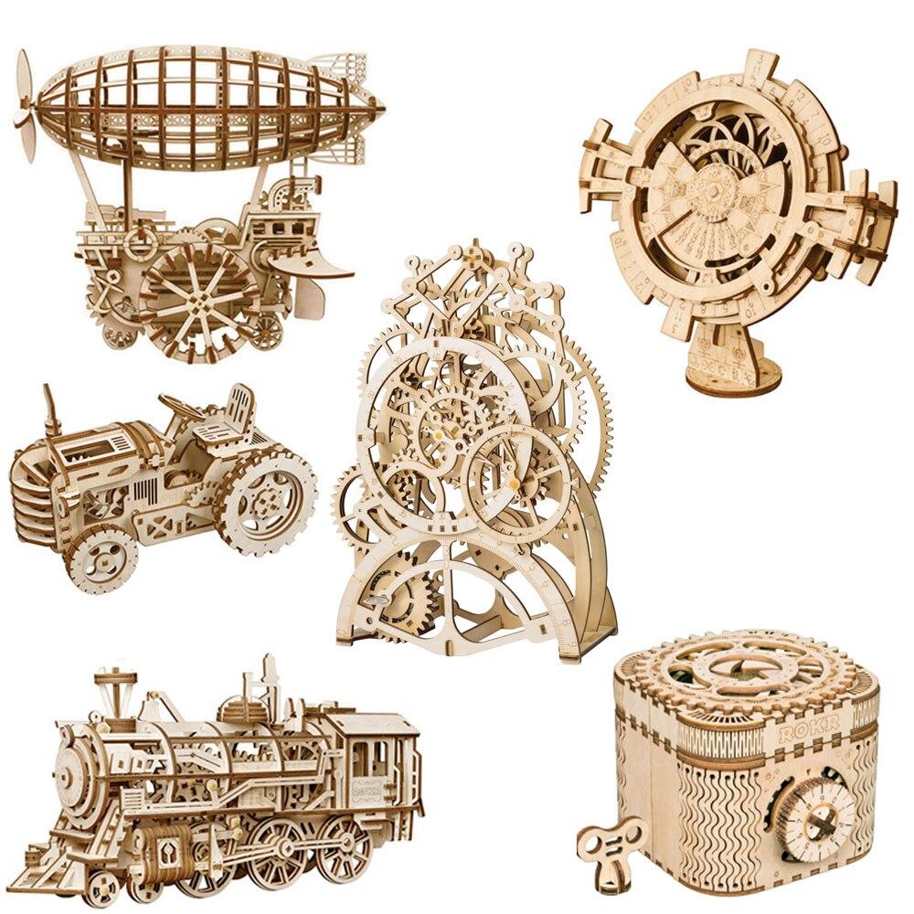 ROKRING DIY rompecabezas de madera 3D engranaje mecánico Drive modelo set de construcción de juguetes Kit de regalo juguetes educativos para niños regalo para niños Hismith máquina de sexo adaptador sexo juguetes para adultos 4,5