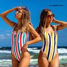 2020 One Piece Swimsuit Sexy Striped Swimwear High Waist Women Monokini Swimsuit Sport Bodysuit Beach Bathing Backless Suit Swim