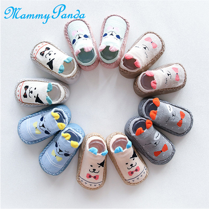 Baby Cartoon Slipper Shoes Boots Rubber Bottom Non-slip Socks Infant Fall Winter
