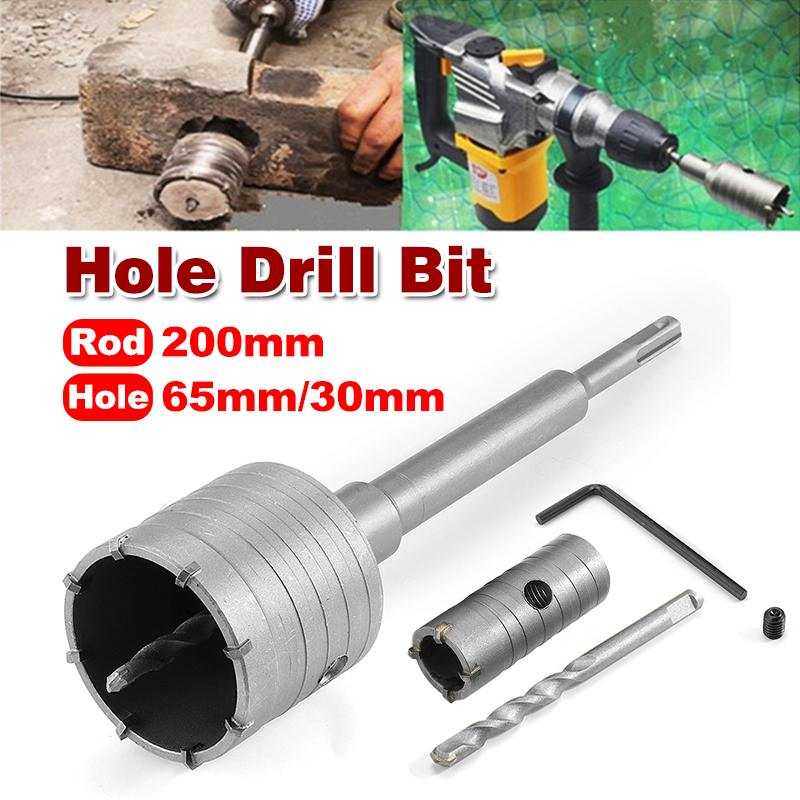 1 Set 30mm 65mm Concrete Cement Wall Hole Saw Cutter Drill Bit 200mm SDS Shank Rod Wrench Tool Kit