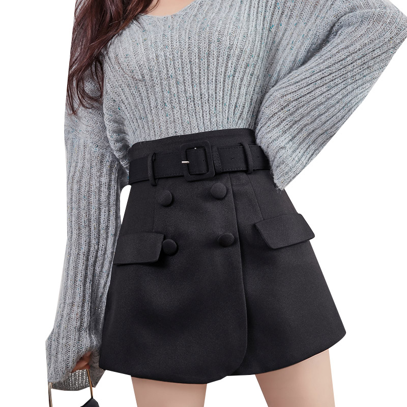 Retro Belt Shorts Women High Waist Black Fake Two Piece Shorts Skirts Female Plus Size Skirt Short Mini Skirts Short Casual