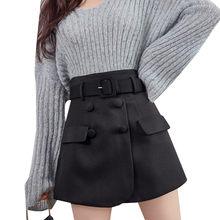 Pantalones cortos con cinturón Retro para mujer, faldas cortas de cintura alta en color negro de dos piezas, de talla grande
