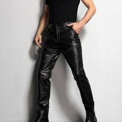 Mens Motorcycle Biker Full Length Pants New Fashion Male Trousers Genuine Leather Sheepskin Slim Fit Korean Style Fur Lining