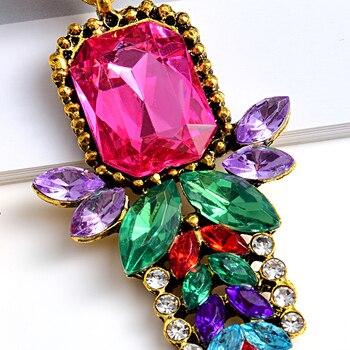 -Quality Metal Colorful Crystal Long Drop Earrings  5