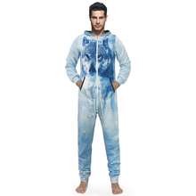 New Design Overalls Mens Rompers Fashion 3D Funny Snow Wolf Print Long Sleeve Hooded Jumpsuit Male Party One-piece