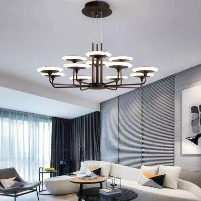 Simplicité Post moderne salon pendentif lumières AC 220V Double couleur Dimmable pendentif LED lampe Villa Restaurant suspension