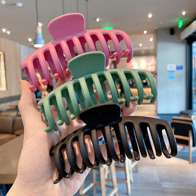 1PC Korean Solid Large Hair Claws Elegant Acrylic Hairpins Barrette Crab Hair Clips Headwear for Women Girls Hair Accessories 1