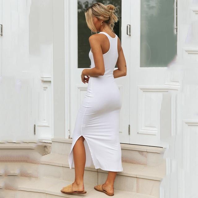 2020 New Fashion Solid Summer Dress Women Sexy Sleeveless Side Split Long Pencil Dress Slim Elegant Tank Maxi Vestido Robe Femme 5