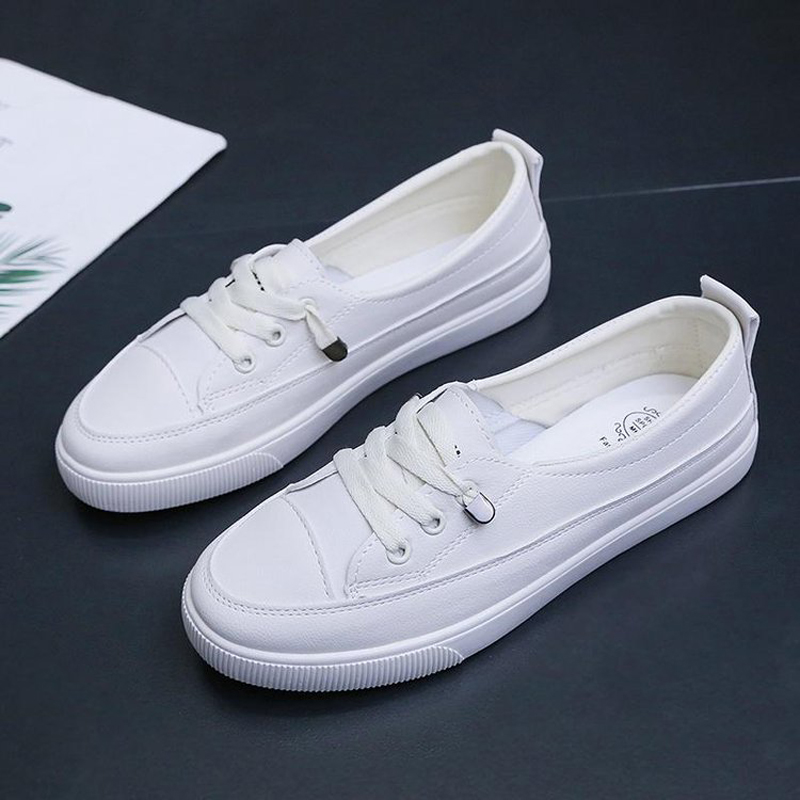 2020 Low platform sneakers women shoes female pu leather Walking sneakers Loafers White flat slip on vulcanize casual shoes 1
