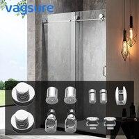 1Set Stainless Steel Frameless Sliding Shower Doors Roller Hardware Cabin Glass Door Silver Electroplated Shower Room Bathroom