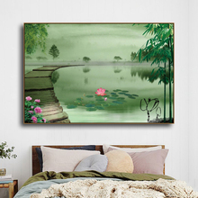 Laeacco Chinese style ink Canvas painting Wall Art Lotus Pond Scenery Picture For Living Room Decoration Modern Home Decor