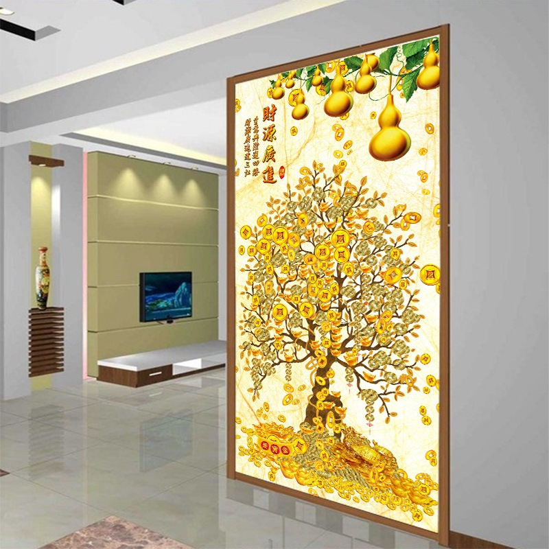 3D Large Mural High-definition Home And Money Tree Chinese Style Entrance Corridor Hallway Wallpaper Tree Non-woven Wallpaper