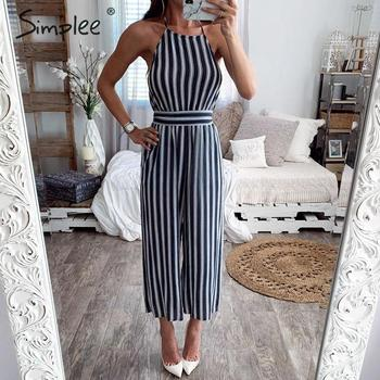 Simplee Bohemian striped women jumpsuit romper Lace up backless female chiffon jumpsuits Elegant spring summer ladies overalls