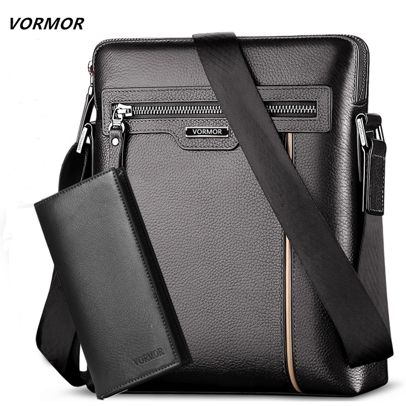 Man Leather Bag VORMOR Brand Shoulder Crossbody Bags PU Leather Male IPad Business Messenger Bag Briefcase For Men