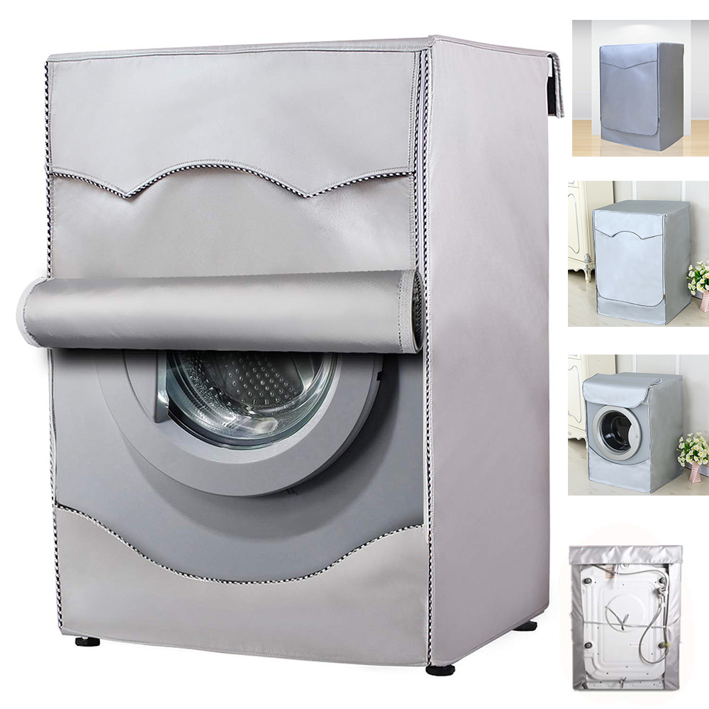 Washing Machine Cover Polyester Fibre Waterproof Front Load Laundry Dryer Cover Sunscreen Laundry Silver Coating Dustproof Cover