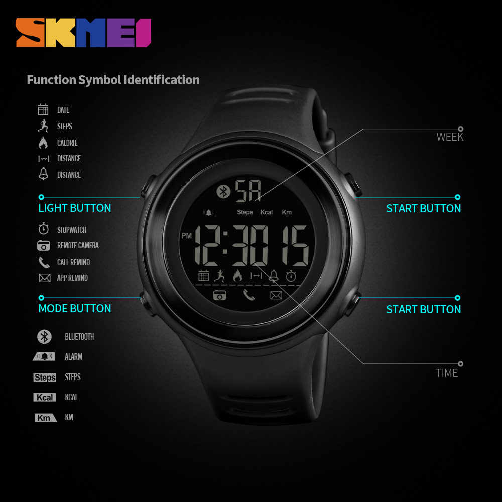 SKMEI Bluetooth Men Smartwatch Pedometer Call Remind Smartwatch Sport Smart Watches Intelligent Wristwatches For Android IOS New