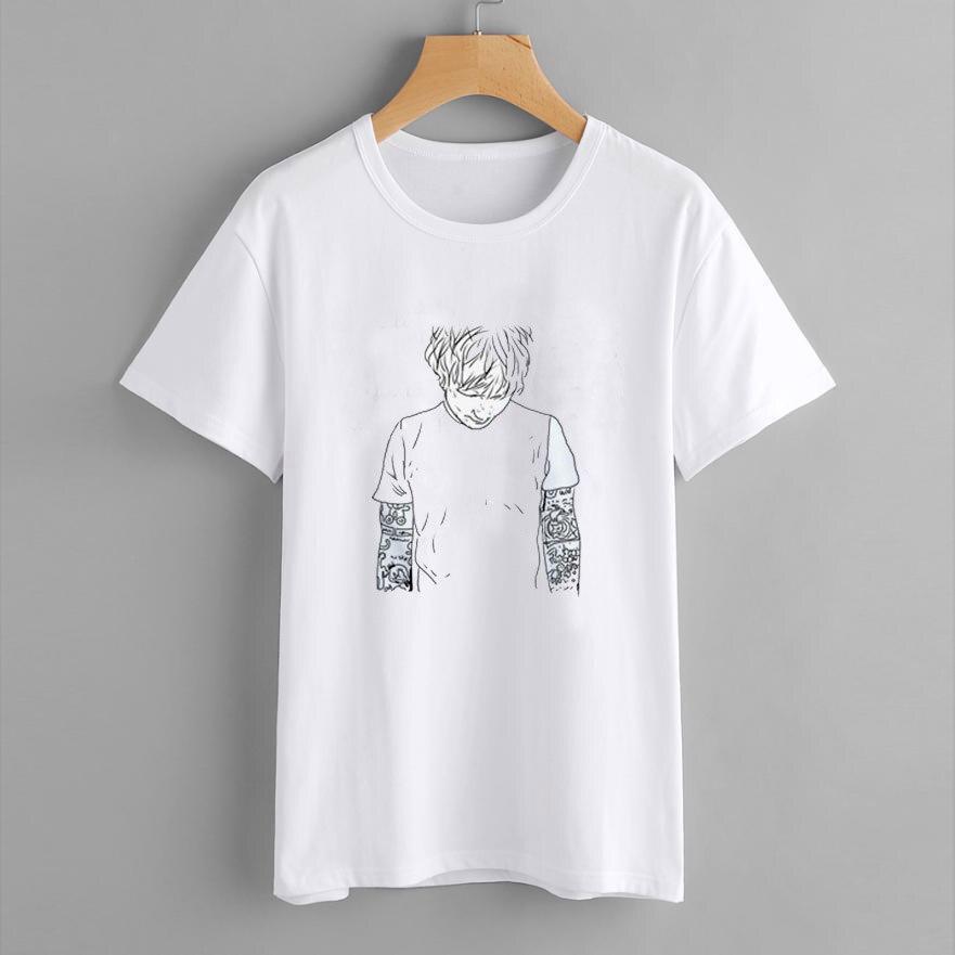 Ed Sheeran Harajuku T Shirt Women Ullzang 90s Music Lovers Funny Cartoon Print T-shirt Fashion Women Tops Plus Size Summer Tees